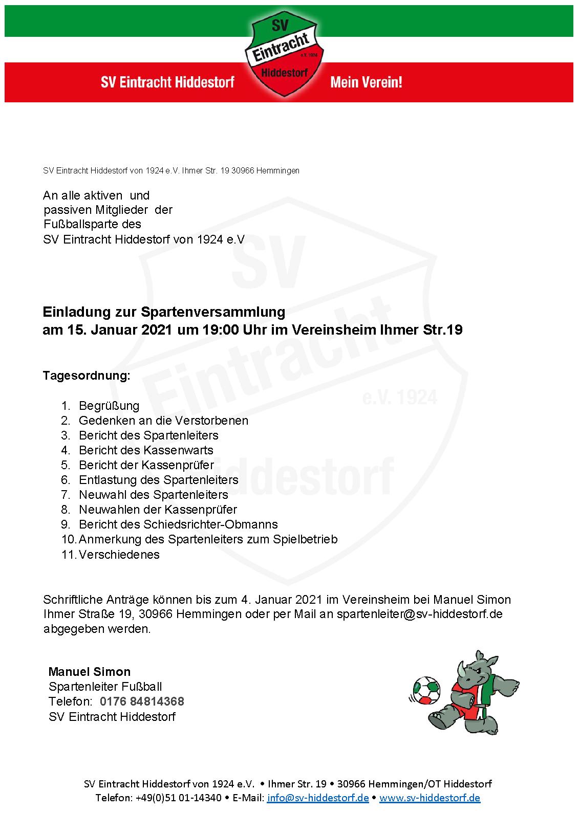 SV Eintracht Hiddestorf Einladung Spartenversammlung2021